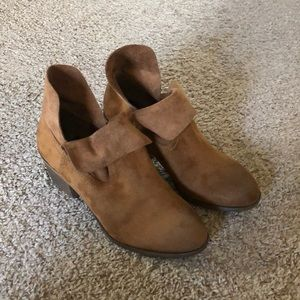 Camel colored man made suede booties
